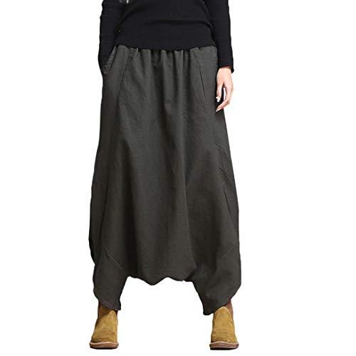 Dragon868 pantaloni larghi donna, pantaloni cavallo basso vita elastico invernale pantaloni lino taglie forti pantaloni harem elegante [s-5xl]