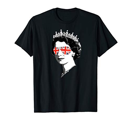 Queen Elizabeth II Sonnenbrillen Britische Krone Union Jack T-Shirt