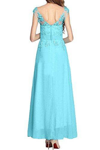 Sunvary Blau Neu Spitze Festkleider Chiffon Applikation Abendkleider Lang Partykleider Blau