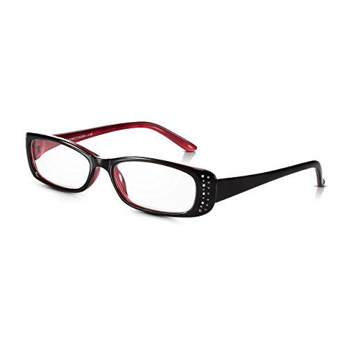 Read Optics Diamanten Damen Lesebrille +2,0 Dioptrien: Klassischer schwarz-roter Rahmen mit Strass/Edelstein Details und Qualitäts-Gläsern mit Stärke. Aus leichtem und stabilem Polykarbonat-Kunststoff