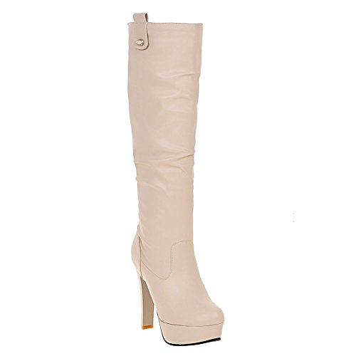 Mee Shoes Damen Plateau high heels langschaft Stiefel Beige