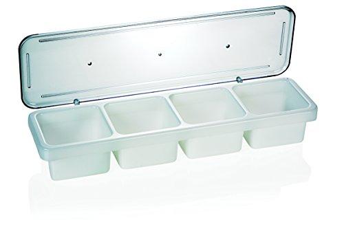 Zutatenbehälter aus Polypropylen, Deckel aus Polycarbonat - XTRA PREISWERT / 4 Einsätze à 0,6 ltr., Abm.: 47 x 14 x 7 cm