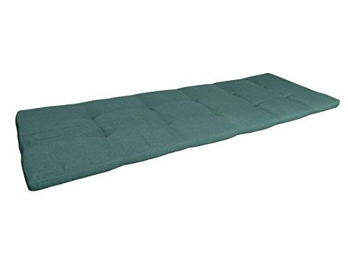 Balke Luxus 2-Sitzer Bankauflage 'Rips Grün 100', ca. 100x50 cm, uni dunkelgrün strukturiert