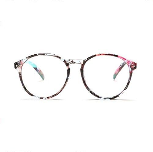 Z&YQ klar Linse Brille Flieger Spiegel Myopie einfache Rahmen Runde Schutzbrillen , broken flowers