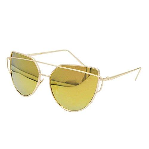 Katzenaugen Sonnenbrille für Frauen, Pawaca Gespiegelte Flache Linsen Straße Moderne Art und Weisemetallrahmen Sonnenbrille UV400