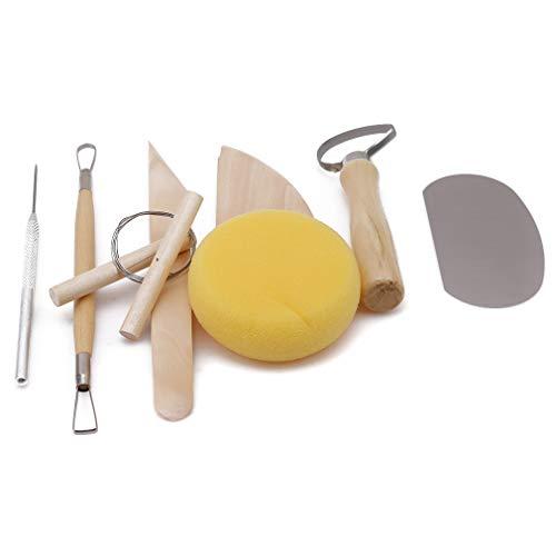 waren-Schnitzwerkzeug-Satz Lehm Sculpting Werkzeuge einschließlich Metallschaber, Holzschaber, saugfähiger Schwamm-Block, Zweikopf-Trennmesser, Einzelkopf-Trennmesser, Nadelkegel, Draht-Ausschnitt-Schlamm, Doppel-Kopf Schlamm-Plastikmesser ()