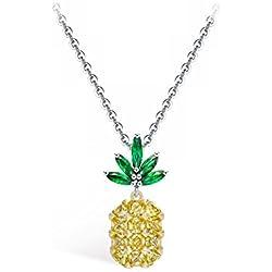 Emma Gioielli - Collar para Mujer Ch. en Plata Cadena y Colgante Piña Fruta Tropical con Cristales SWAROVSKI ELEMENTS Moda - Paquete Regalo