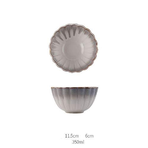 Kreatives Geschirr Westliches Gericht Blütenblatt Gericht Obstsalat Gericht Reisschüssel Suppenschüssel Haushalt Japanischer Ofen Wechsel Creme Grau 4,5 Zoll - Und Gelb Pappteller Grau