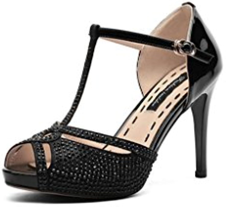 Sandalias, Sandalias de Cuero de Europa y América de la Moda Rhinestone Zapatos de Tacón Alto Boca de Pescado...