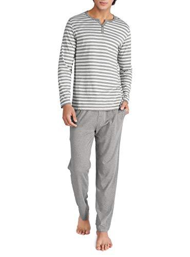 Genuwin Herren Zweiteiliger Schlafanzug Lang Pyjama Set aus 100% Baumwolle Basic Nachtwäsche für Männer - Streifen T-Shirt mit Henrykragen & Lange Hose, 1 Set (M, Heidekraut Dunkelgrau)