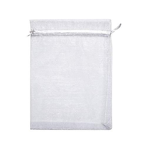 DAYOLY 100 stücke Große Organzabeutel Organzasäckchen Schmuckbeutel Süßigkeiten-Geschenk-Tasche mit Kordelzug für Hochzeit Süßigkeiten Essen Gastgeschenke(5 '' x 7 '') (Weiß)