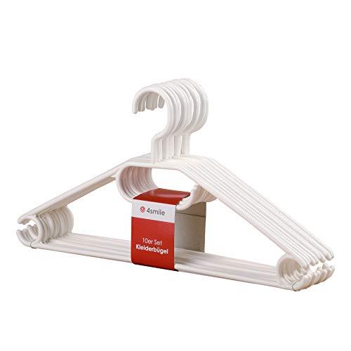 KLEIDERBÜGEL Bianco 50er Set von 4smile - Made in Europe | Kleider-Bügel weiß Kunststoff stabil ǀ Wäsche-Bügel leicht und platzsparend ǀ Multifunktionsbügel Anzugbügel mit drehbarem Haken