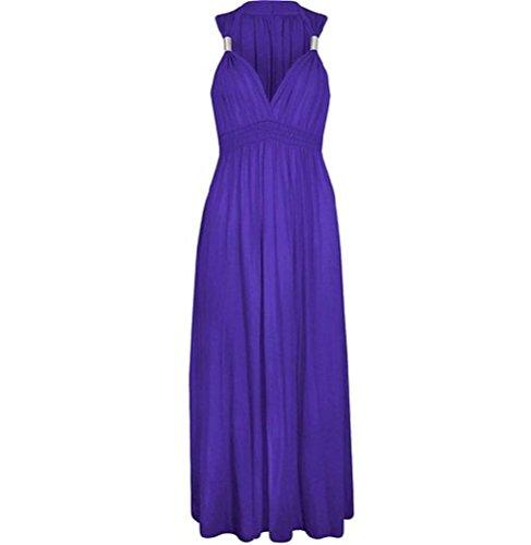 Mesdames manches décolleté en cœur Spring Coil Maxi EUR Taille 36-42 Violet