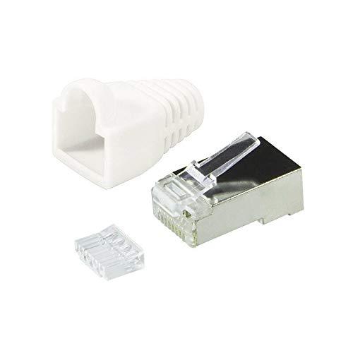 BIGtec 2 x RJ45 Stecker CAT.6 weiß Gigabit Crimpstecker RJ-45 Modular Plug Ethernet LAN Kabel Steckverbinder Netzwerkstecker geschirmt CAT6 -