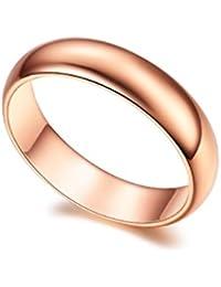 Anillo de compromiso RedFly altamente pulido chapado en oro rosa de 5 mm para mujeres y hombres