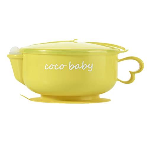 BESTONZON - Cuenco de acero inoxidable con ventosa aislante para bebés con cuchara, color amarillo