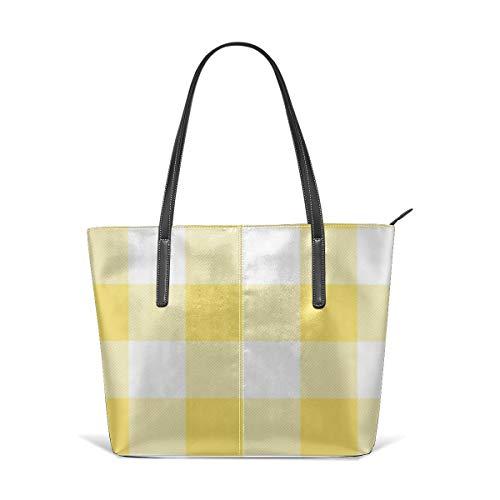 Sotyi-ltd Rustikale gelbe und weiße Buffalo Karo Strandtasche Reisetasche, Einkaufstasche, Schultertasche für Damen und Mädchen -