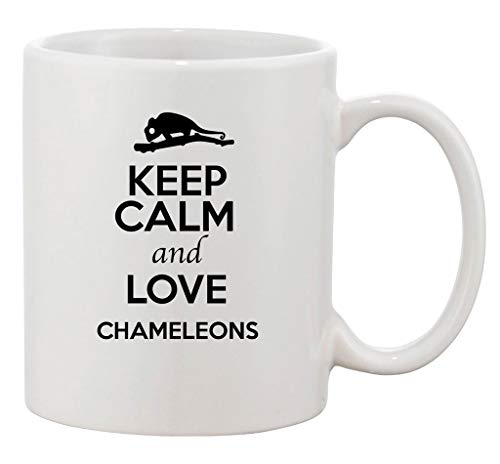 Duang Keep Calm and Love Chameleons Animal Lover Ceramic White Coffee 11 Oz Mug
