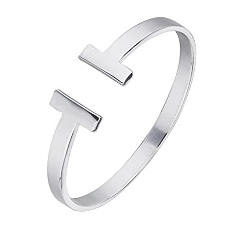 Janeo Fashion T Cutout Cuff Wrist Bangle, Inlaid Genuine Mother of Pearl Perfect Romantic Gift Idea - Rhodium, Janeo Bangles &