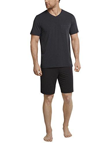 Schiesser Herren Anzug kurz Zweiteiliger Schlafanzug, Grau (Anthrazit 203), Medium (Herstellergröße: 050)