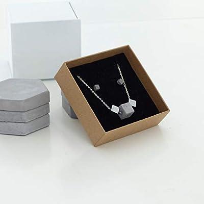 Parure de Cubes en Béton. Collier de Cubes en Hématite et Béton, Chaine en Argent 925, Boucles D'oreilles en Acier Inoxydable et Béton