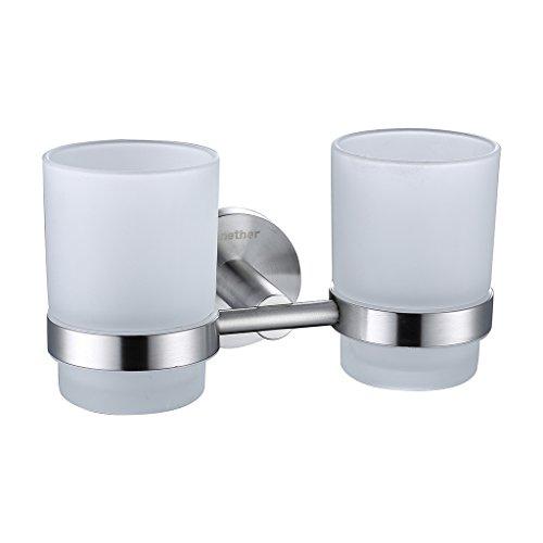 Finether Zahnputzbecherhalter Zahnbürstenhalter Glashalter mit 2 Zahnputzbecher