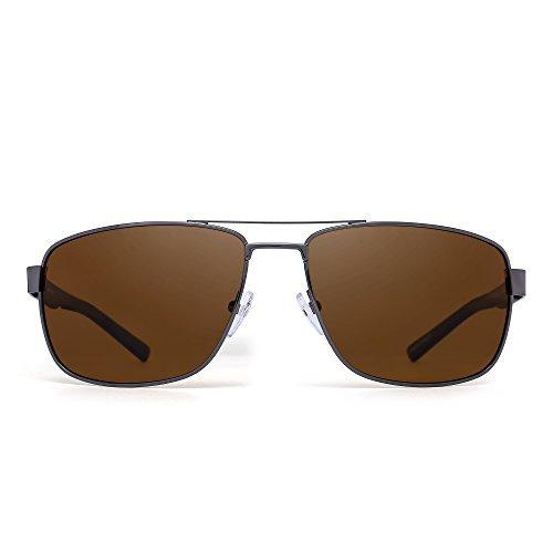 JIM HALO Polarisiert Fahren Flieger Sonnenbrille Metallrahmen Quadratische Linsen Brille Herren Damen(Silber Rahmen Schwarz Tempel/Polarisiertes Braun)