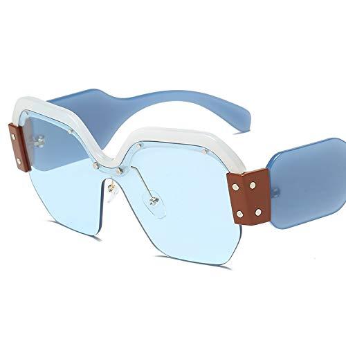 DXXHMJY Sonnenbrillen Randlose übergroße Sonnenbrille Frauen Weinlese-Rot-Rosa-Luxusgläser für weiblichen Niet-großen Rahmen-männlichen Shades personifizierte High-End-Sonnenbrille2-Transparent-Bl -