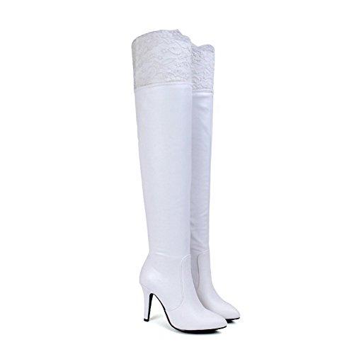 AgooLar Damen Hoher Absatz Weiches Material Hoch-Spitze Rein Reißverschluss Stiefel Weiß