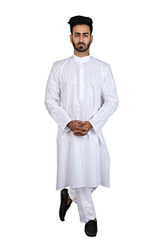 Thaath Men's Ethnic White Kurta Pyjama Set with Stripes (Eid Collection)