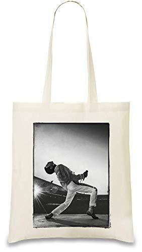 Freddie Mercury auf der Bühne On Stage Custom Printed Tote Bag| 100% Soft Cotton| Natural Color & Eco-Friendly| Unique, Re-Usable & Stylish Handbag For Every Day Use| Custom Shoulder