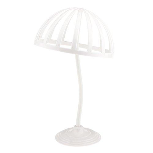 perfk Vintage Support Perruque en Plastique Affichage Chapeau Etagère Display Casquette Stand Stable - Blanc