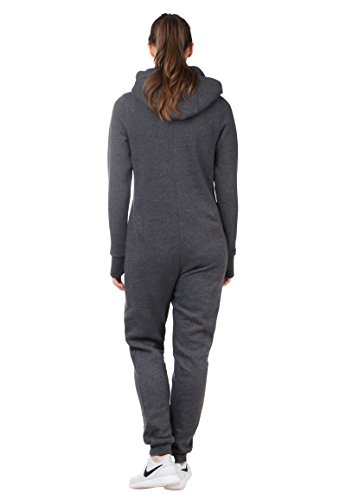 Damen Kuscheliger Jumpsuit | Einteiler aus bequemen Sweat dark grey - 5