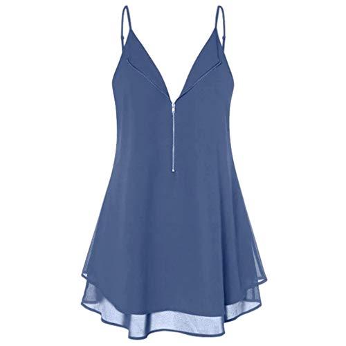 Tyoby Damen Oberteile Ärmelloses Chiffon-Doppelhemd mit Reißverschluss,Sommer Freizeit Erfrischend Ärmellos T-Shirt Tops(Blau,M) (Für Halloween Kostüme Arbeit Original)