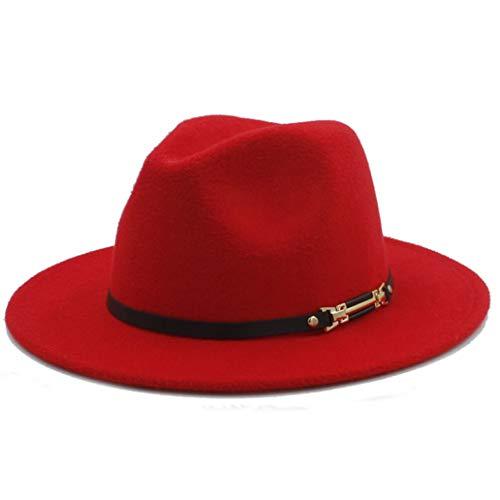 Unisex Retro Wollfilz Fedora Hut mit breiter Krempe Elegante Mütze für Lady Gangster Trilby (Irische Gangster Kostüm)