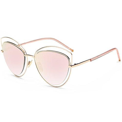 SOJOS Mode Frauen Damen Doppel Draht Doppel mit Rand UV400 Katzenaugen Sonnenbrille SJ1047 mit Gold Rahmen/Rosa-Linse