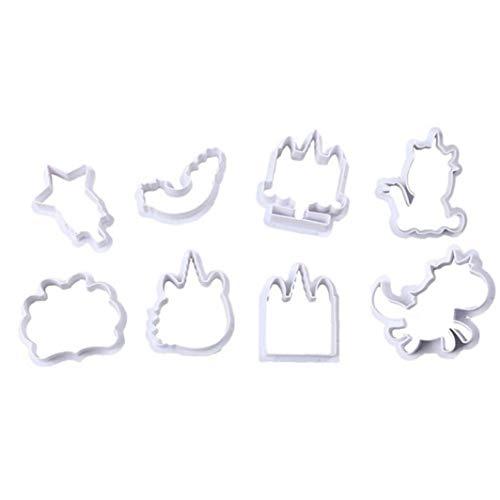 Cieelita 8pcs / Set Unicorn Ausstechform Nesting Plastikring-Plätzchen-Formen-Satz für Schneide Schaum, Paste, Schokolade, Fudge, Donut Muffins Nesting Plastic Cookie Cutters