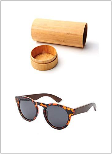 DAIYSNAFDN Mode Runde Bambus Sonnenbrille Frauen Design Retro Vintage Ursprüngliche Holz Sonnenbrille Männer C1 with Case3
