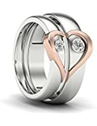 Silverish Forever Love Matching Ring For Him And Her Alloy Cubic Zirconia Rhodium Plated Ring Set - B07CKH2Z3N