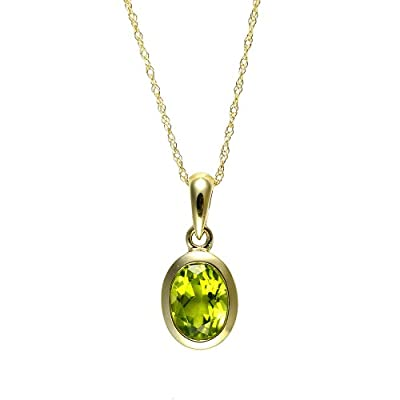 Ivy Gems 9ct Yellow Gold Oval Peridot Rubover Pendant with 46cm Rope Chain