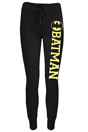 Be Jealous Damen Brooklyn Jogging Hose Sport Fitness Training Hose - Schwarz Batman- Knöchellang Fitnessstudio Cartoon, S/M (36-38)