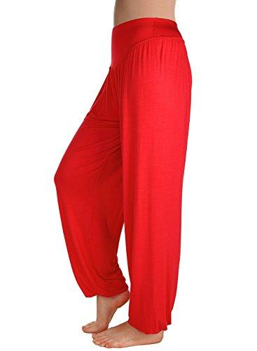 Pantalon Yoga Femme Jogging Sport Pantalon Lache Hip-hop Baggy Uni - Très Chic Mailanda Rouge