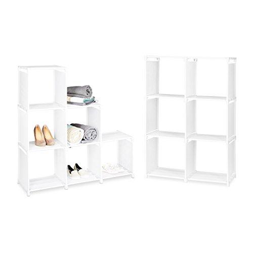 2 x Stufenregal im Set, je 6 Fächer, stabiles Treppenregal, Regalsystem, Raumteiler, weiß