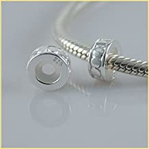 Andante-Stones - original, cuenta de plata de ley 925 sólida, elemento separador con cierre a presión, elemento bola para pulseras modulares European Beads + saco de organza