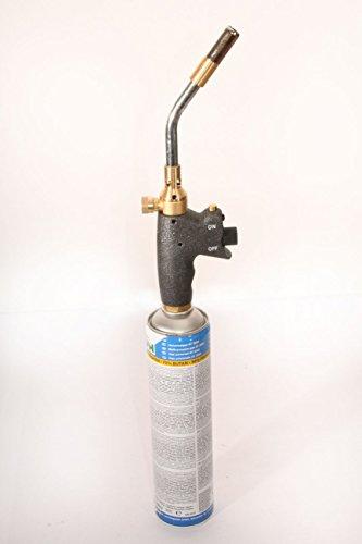 Profi Turbo Lötbrenner Lötpistole Gas-brenner 3,5 KW Lötlampe mit Piezo-Zündung und Feststellknopf