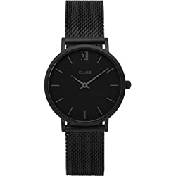Cluse Unisex Analogue Watch with black Dial Analogue Display and Stainless steel plated black - CL30011