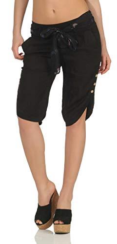 Malito Damen Kurze Hose aus Leinen | Caprihose in Unifarben | feine Freizeithose mit Gürtel | Stoffhose - Chino 8186 (schwarz, M)