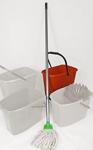 Preisvergleich Produktbild 2 Stück Wischmopset 10 Liter Eimer Putz Set Bodenwischer 110 cm Mop Bodenreiniger - ROT