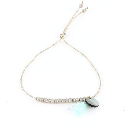 riendship Bracelet for Women Beaded Crystal Charm Bracelet Tassel Pendant Gold Thread Femme Jewelry Girls 6 Colors 198 3 ()