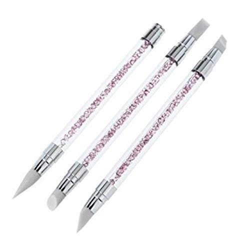 Weiche dichte synthetische Make-up-Pinsel 3pcs Nail Art Carving Pen Bürsten Silikon Kopf Strass...